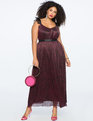 Ruffle Strap Metallic Gown WINE
