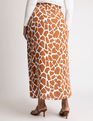 Printed Pull-on Faux Wrap Skirt Giraffe