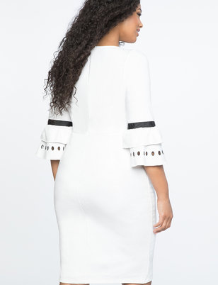 Embroidered Flare Sleeve Ponte Dress