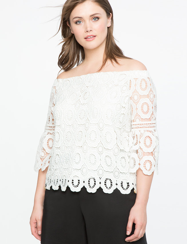 Off the Shoulder Crochet Lace Top