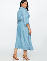 Wide Tie Chambray Wrap Dress LIGHT WASH