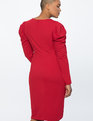 Crew Neck Dress with Draped Front Jester Red