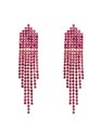 Crystal Waterfall Earrings Fuchsia + Gold