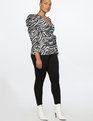 Puff Sleeve Wrap Top Black and White Zebra
