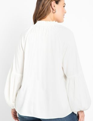 ELOQUII Elements Ruffle Neck Soft Blouse