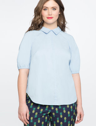 Button Back Puff Sleeve Blouse