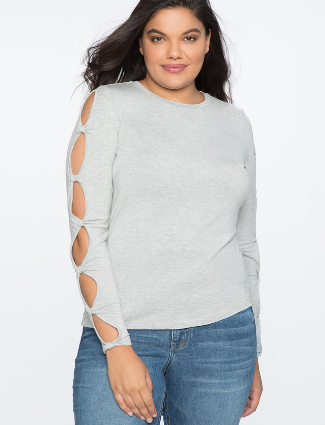 Cutout Detail Long Sleeve Top