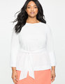 Tie Waist Top with Cuff White