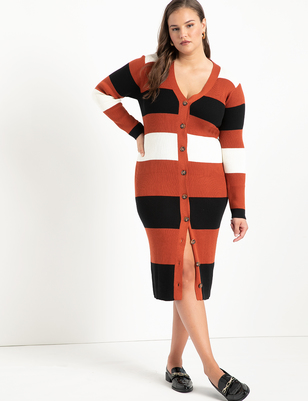 Striped Cardigan Sweater Dress
