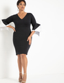 Layered Flare Sleeve Dress Black W/ White