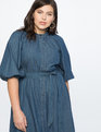 Puff Sleeve Shirtdress Dark Wash