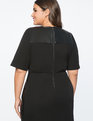 Premier Bi-Stretch Faux Leather Mix Work Dress Totally Black