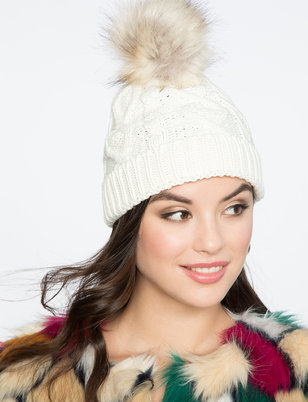 Cable Knit Hat with Faux Fur Pom