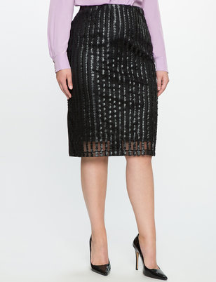 Faux Leather Dot Pencil Skirt