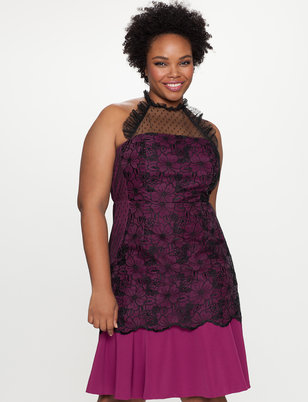 Lace Yoke Halter Dress