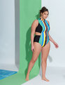 Colorblock One Piece Swimsuit with Cutouts Stripe