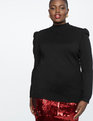 Puffed Shoulder Turtleneck Sweater Totally Black