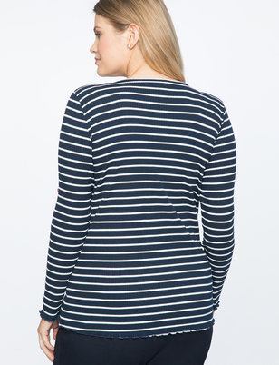 Striped Ruffle Hem Long Sleeve Tee