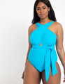 Wrap Halter One Piece Swimsuit Blue Claire