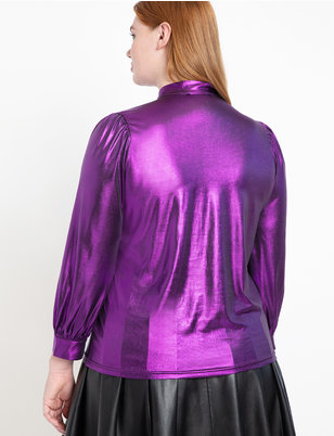 Metallic Bow Blouse
