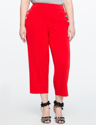 Button Detail Cropped Pant
