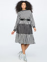 Mixed Print Mock Neck Dress CHEQUE PLEASE/EBBINGHAUSE