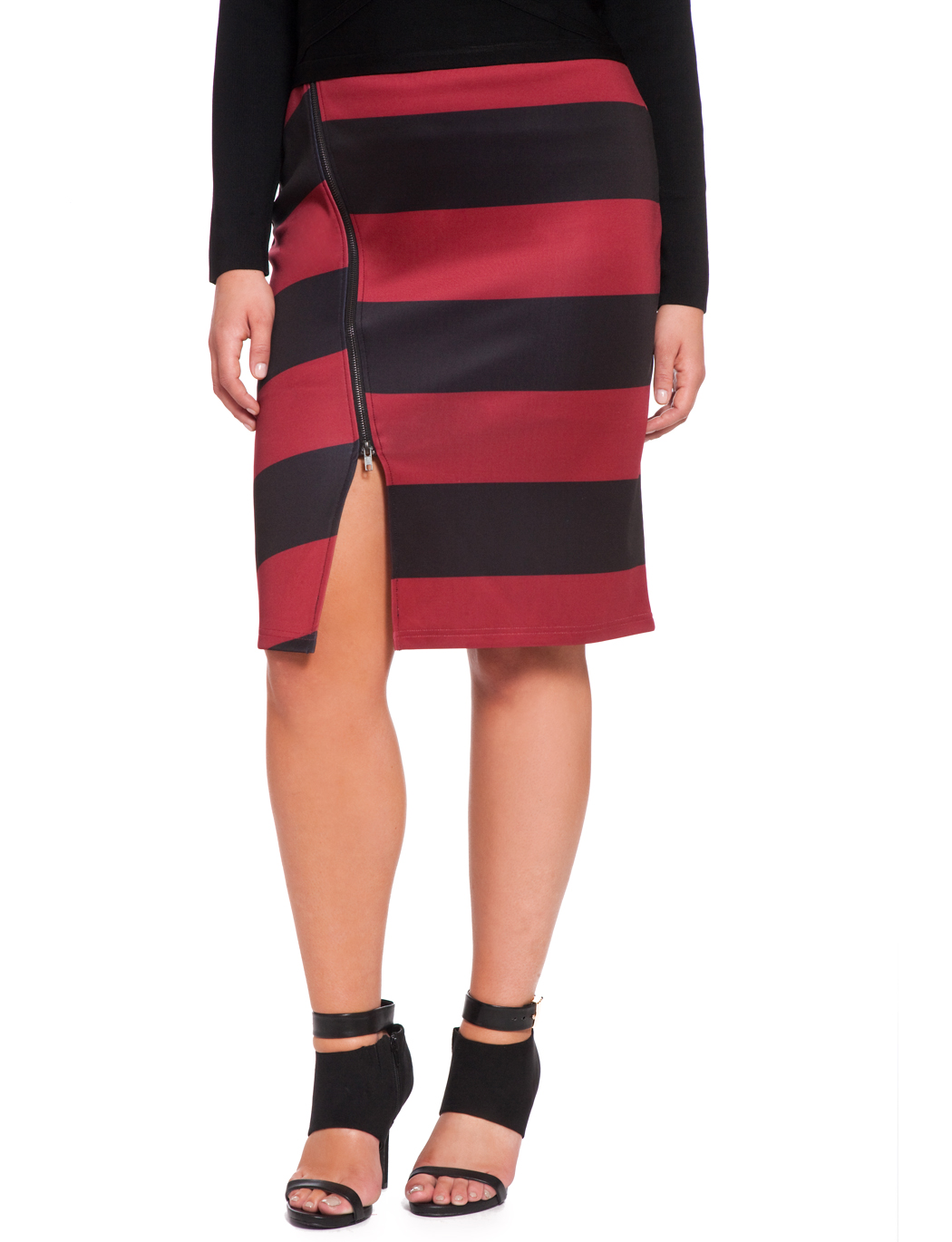 124f63b0acfa Striped Side Zip Pencil Skirt