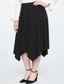 Handkerchief Hem Rib Midi Skirt Black