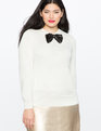 Sequin Bow Sweater Whisper White