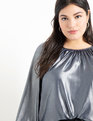 Drama Shoulder Blouse Navy w/ Silver