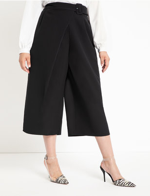 Buckle Waist Cropped Pants