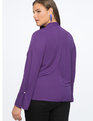 Draped Blouse with Pearl Cuff Deep Violet