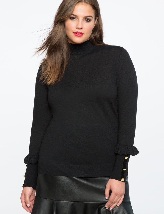 Button Cuff Turtleneck Top