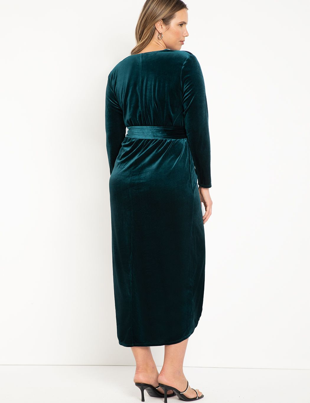Velvet Wrap Dress With Tie