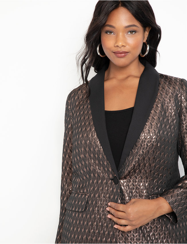 Brocade Blazer with Contrast Collar