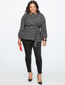 Polka Dot Balloon Sleeve Top BLACK/WHITE DOT