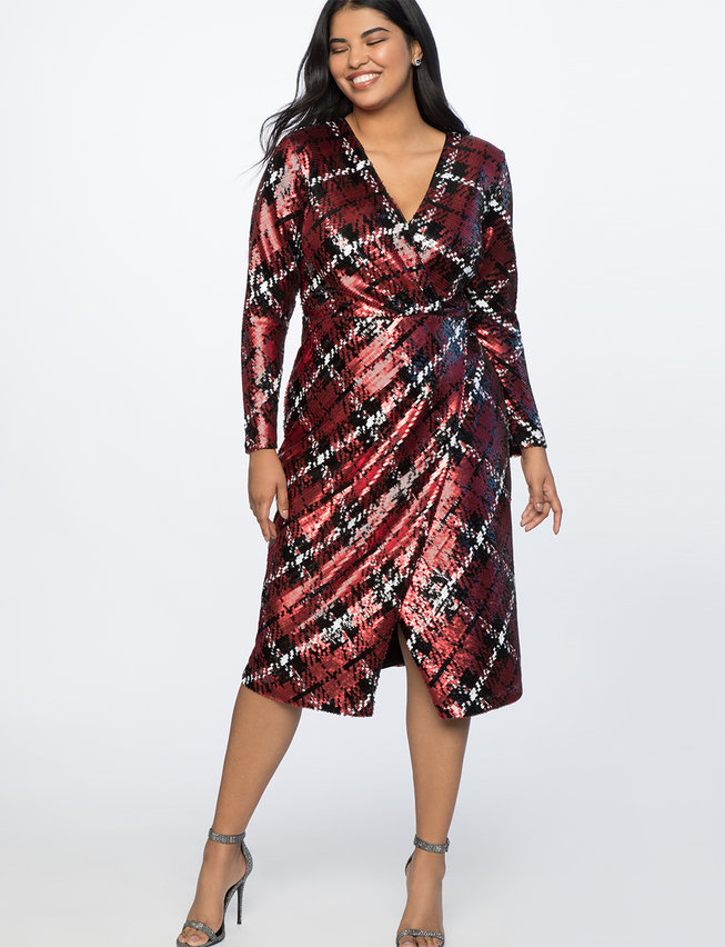 Plaid Sequin Wrap Dress
