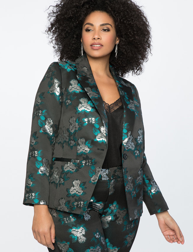 Brocade One Button Jacket