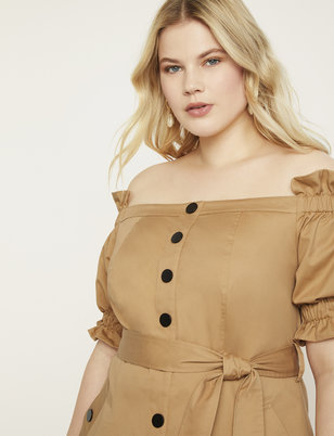 Off the Shoulder Trench Dress