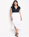 Cascade Ruffle Skirt with Slit Soft White