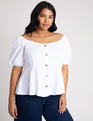 Button Front Puff Sleeve Tee Soft White