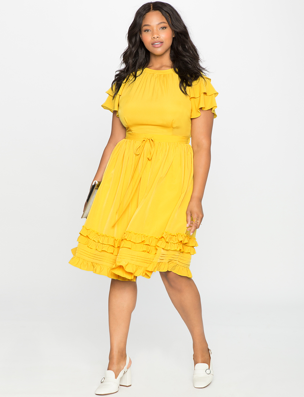 a3748240692 Ruffles and Pintucks Fit and Flare Dress
