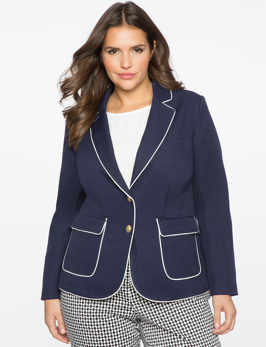 Quinn Blazer with Piping