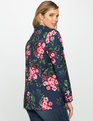 Floral Crepe Blazer Navy Pansy Play