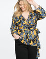Printed Wrap Top with Draped Sleeves It's Always Sunny
