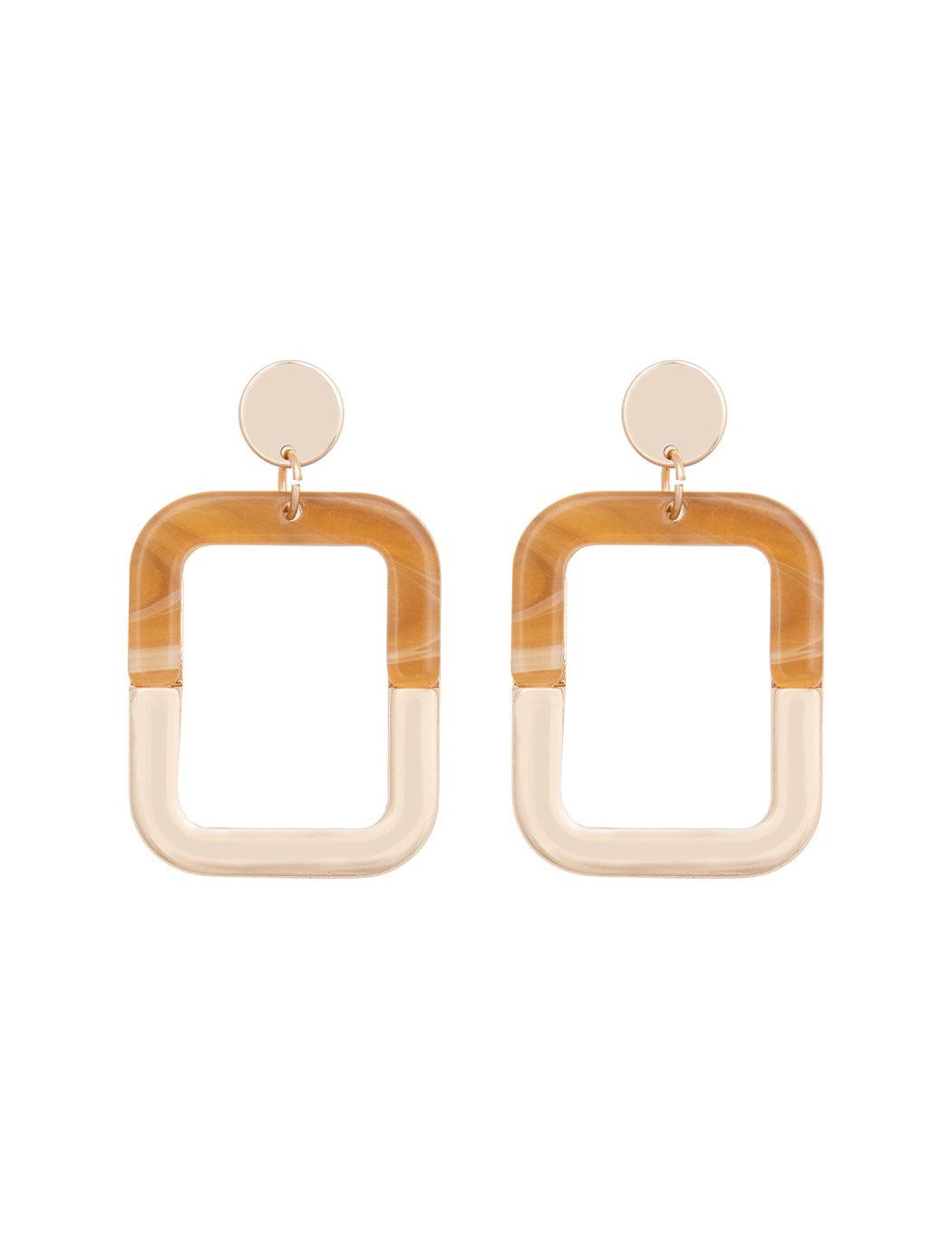 Rounded Rectangle Resin and Gold Earrings