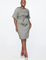 Tie Front Work Dress Heather Grey