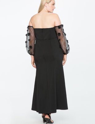 Studio Off the Shoulder Embellished Sleeve Gown