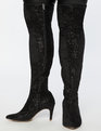 Sequin Amelia Over The Knee Boot Black Sequin