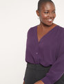 Button Front V-Neck Blouse Potent Purple